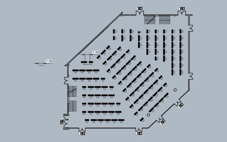 Franconia-Saal - großer Saal - große Bühne - 130 Plätze