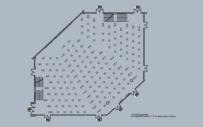 Franconia-Saal - großer Saal - große Bühne - 174 Plätze